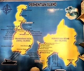 MAPA ISLAS PERHENTIAN. PERHENTIAN BESAR (ISLA GRANDE) Y PERHENTIAN KECIL (ISLA PEQUEÑA)